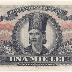 ROMANIA 1000 LEI 5 DECEMVRIE 1947 F - Bancnota romaneasca