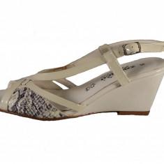Sandale dama, din piele naturala, marca Zodiaco, culoare bej, marimea 36