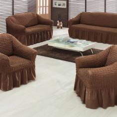 Set huse creponate si elastice canapele si fotolii 3+2+1+1 Maro
