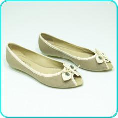 DE FIRMA → Pantofi dama, decupati, comozi, usori, piele, GEOX → femei | nr. 38, 5 - Pantof dama Geox, Culoare: Bej, Piele naturala, Cu talpa joasa