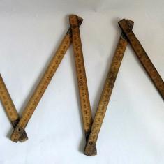 Metru de tamplar, de lemn, vechi, fabricat la Cluj Napoca, din anii 80