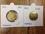 MONACO 2002 monede de 10c+20 euro centi - UNC, Europa, Cupru-Nichel