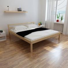 Pat din lemn masiv de pin 200 x 180 cm, natural