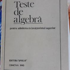 TESTE DE ALGEBRA 1990, EDIT APOLLO - INVATAMANTUL SUPERIOR, SCHNEIDER - Teste admitere facultate