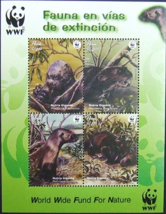 PERU - WWF NUTRII, 2000,  4 V  IN  M/SH,  NEOB. -  E6250