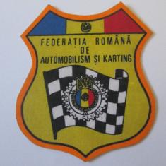 Rara! Emblema/ecuson ACR-Federatia romana de automobilism si karting din anii 80