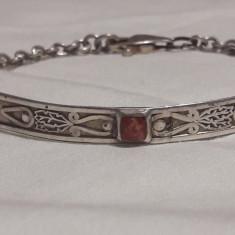 BRATARA argint TRIBALA cu CORAL vintage VECHE splendida SUPERBA de EFECT