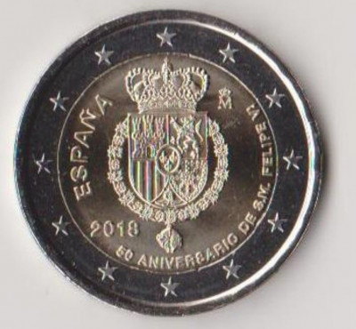 moneda de 2 euro comemorativa SPANIA 2018_Filip VI - UNC foto