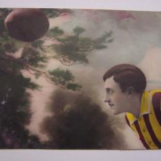 Carte postala - jucator de rugby - circulata in anul 1931, Printata, Bocsa