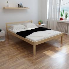 Pat din lemn masiv de pin 200 x 140 cm, natural