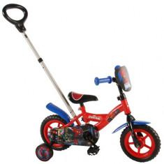 Bicicleta cu Maner si Roti Ajutatoare Spiderman 10 inch - Bicicleta copii