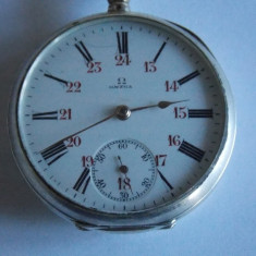 Ceas Omega antic de buzunar din argint (functioneaza)(5102) - Ceas de buzunar vechi