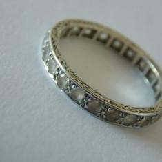 Inel aur 9 CT cu zirconii -2987 - Inel aur alb