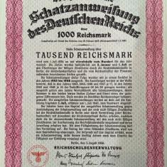1000 Reichsmark Germania 1936 obligatiune la purtator neincasata