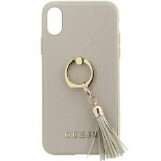 Husa Protectie Spate Guess GUHCPXRSSABE Cu Inel Bej pentru APPLE iPhone X - Husa Telefon