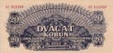SPECIMEN CEHOSLOVACIA 20 korun 1944 AUNC+!!!