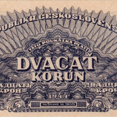SPECIMEN CEHOSLOVACIA 20 korun 1944 AUNC+!!! - bancnota europa