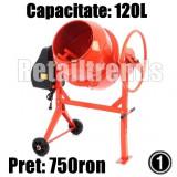 Betoniera 120 130 140 160 180 Litri Coroana Fonta Constructie - NOU - GARANTIE, 120 L