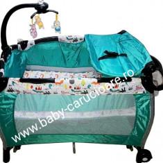 Pătuț-tarc nou născut 2 in 1 cu balansoar Baby Care FRW Verde imprimat