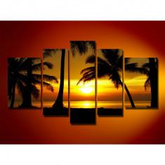 Set Tablouri Multicanvas 5 Piese Peisaj, Apus de soare pe plaja cu palmieri la mare, panza canvas, rama lemn MDF, negru & orange