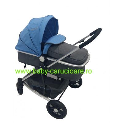 Cărucior nou născut Baby Care 2 în 1 YK 18 Albastru foto