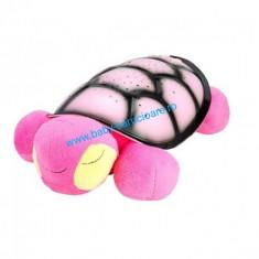 Proiector Sparking Turtle din pluș cu cablu USB-roz