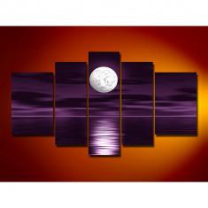 Set Tablouri Multicanvas 5 Piese Peisaj Luna noaptea in largul marii, pentru decor, panza canvas, rama lemn MDF, mov