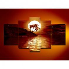 Set Tablouri Multicanvas 5 Piese Peisaj, Mare, Luna, Noapte,Palmieri pentru decor, panza canvas, rama lemn MDF, Sepia