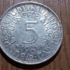 5 marci 1963 G mai rara, 600.000 ex., Europa, Argint