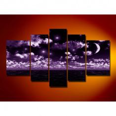 Set Tablouri Multicanvas 5 Piese Peisaj Semiluna si stele noaptea in largul marii pentru decor, panza canvas, rama lemn MDF, mov
