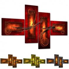 Tablou multicanvas abstract modern regal in 4 variante de culori, rosu, maro, verde, gri BM7525, set 4 piese, MDF, 3 dimensiuni