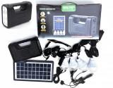 Cumpara ieftin Panou solar kit fotovoltaic 4 becuri LED, USB incarcare telefon, lanterna