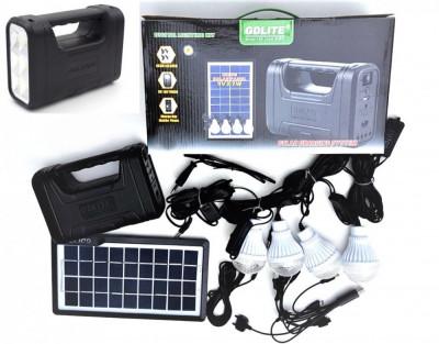 Panou solar kit fotovoltaic 4 becuri LED, USB incarcare telefon, lanterna foto