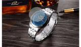 Ceas barbatesc elegant argintiu business Bosck cadran de 4 cm waterproof cu data, Lux - elegant, Quartz, Inox