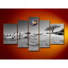 Set Tablouri Multicanvas 5 Piese Peisaj Alb Negru, Mare, Plaja, Pietre in apa pentru decor, panza canvas, rama lemn MDF
