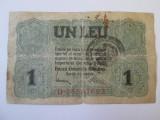 Romania 1 Leu 1917 BGR cu stampila
