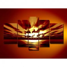 Set Tablouri Multicanvas 5 Piese Peisaj, Mare, Apus de soare, Nori pentru decor, panza canvas, rama lemn MDF