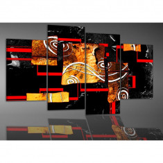 Tablou canvas abstract linii drepte si spirale - rosu, negru, maro - 120x75cm, BM3362