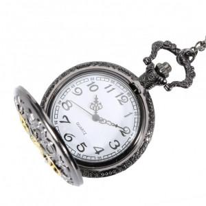 Ceas de buzunar negru cu lant Quartz Vintage cu inscriptie DAD ( tata )