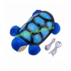 Proiector Sparking Turtle din pluș cu cablu USB-albastru