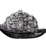 """Life Boat"" Barca oporto ILUSTRATII #art #creion #print, Nonfigurativ, Pastel, Abstract"