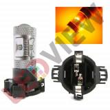 Bec semnalizare PY24W cu led CREE putere 30W - Galben, Universal