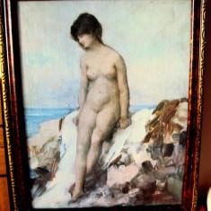 Tablou   Nud  pe    malul   marii , reproducere   N.Grigorescu, Ulei, Realism