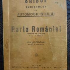 Ghidul turistului si automobilistului - M.D. Moldoveanu/harta Romaniei 40 planse