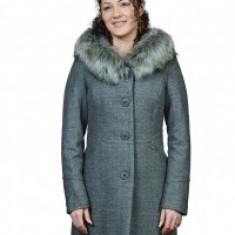 Palton gri cu gluga - Palton dama, Marime: 46