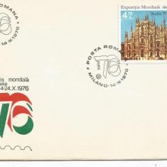 (No4) FDC ROMANIA -1976-L.P. 922 - Expozitia Mondiala Filatelie MILANO