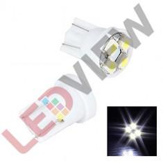 Bec T10 (W5W) cu 4 led SMD 3528 Alb xenon, Universal