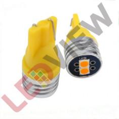Bec T10 (W5W) cu 2 led SMD 3030 Galben
