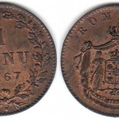 * Moneda 1 banu 1867 Heaton - Moneda Romania, Bronz