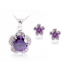 Set bijuterii Special Violet Flower - Set Swarovski